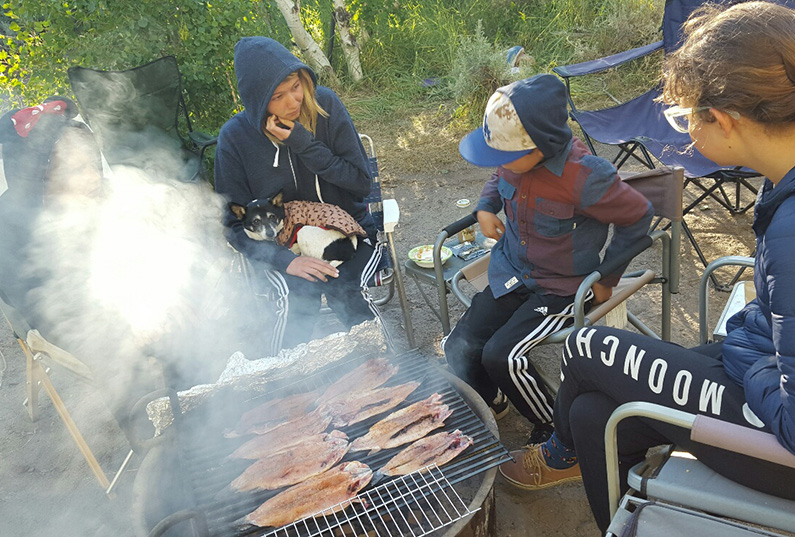 Smoked Trout on Campfire